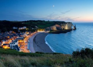 Night view of etretat cliffs