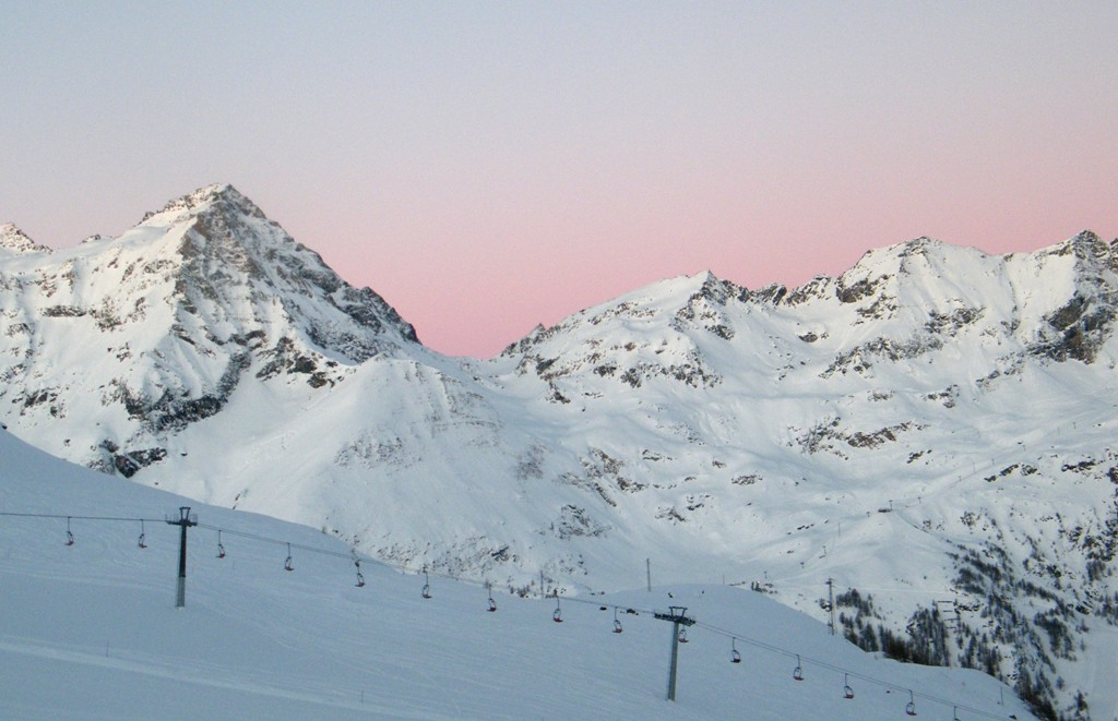 Skiing in the Alps - Monterosa in the Morning