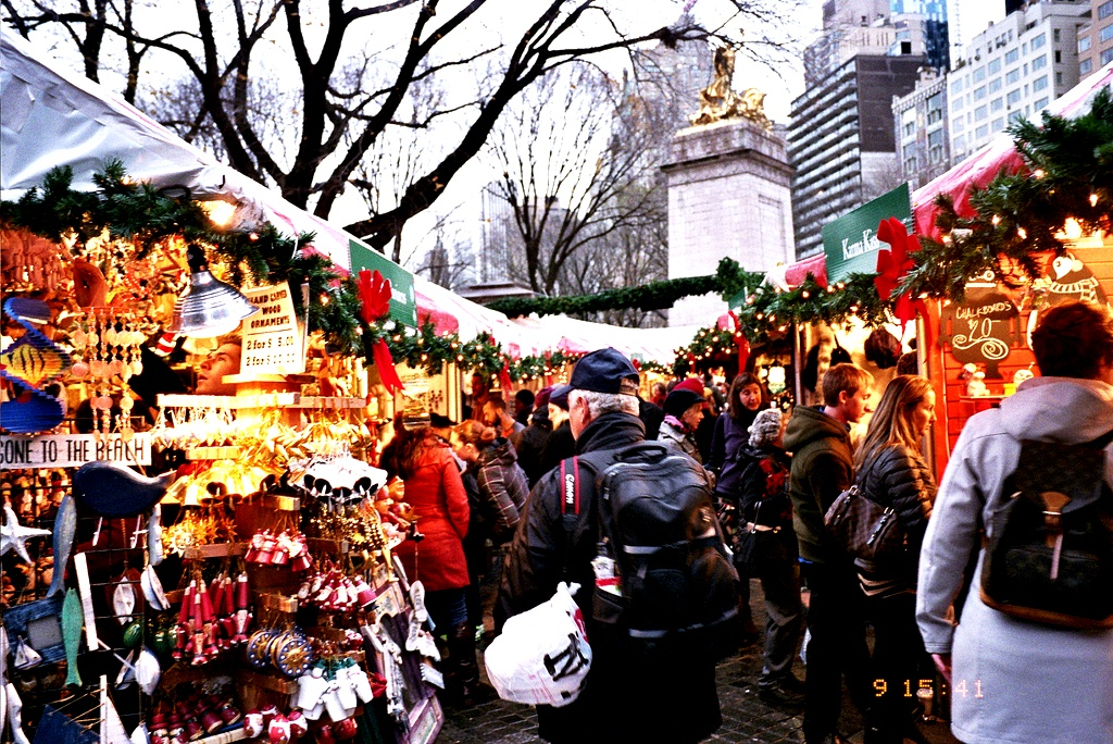 Columbus circle market Christmas in New York City