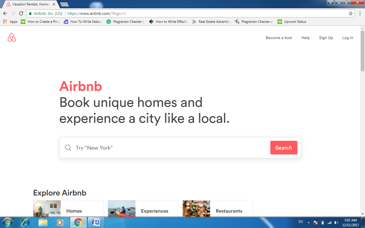 Airbnb launch page