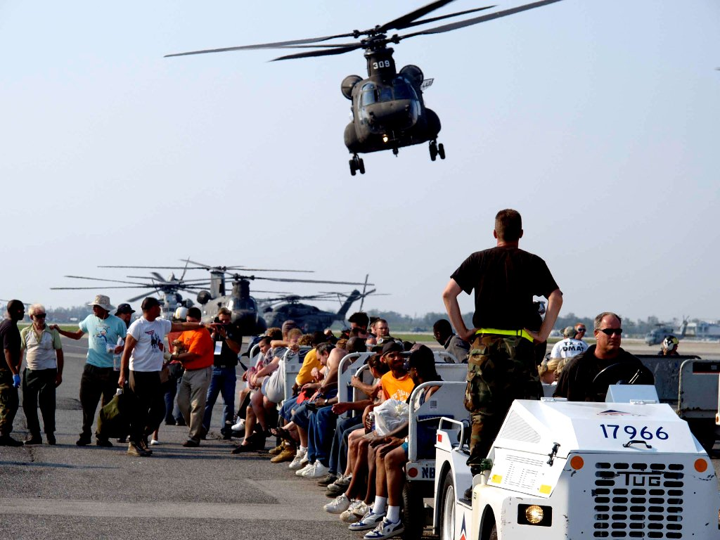 MSY North Terminal - Hurricane Katrina Survivors Arriving at Louis Armstrong Airport